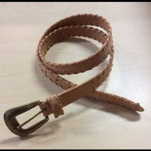 Tan leather whipped stiched western belt large